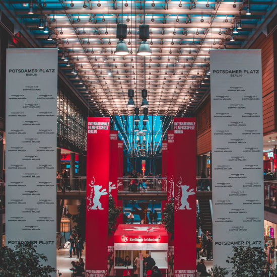 Berlin Movie Time Architectural Column Architecture Berlinale Berlinale 2018 Berlinale Festival Building Built Structure Ceiling Communication Day Festival Hanging Illuminated Indoors  Lighting Equipment Low Angle View Mode Of Transportation No People Red Text Transportation