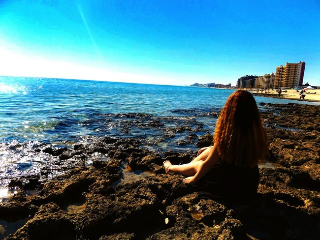 Blue Beach One Person Horizon Over Water Sky Nature Water Only Women One Woman Only People Beauty In Nature IPhoneography Daytime Photography