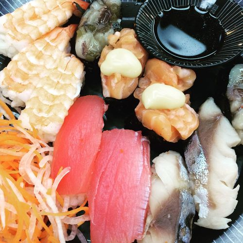 Japanese Food Sushi Freshness Food Food And Drink Still Life Healthy Eating Indoors  High Angle View Ready-to-eat Wellbeing No People Close-up Seafood Vegetable Full Frame Raw Food Serving Size Meat
