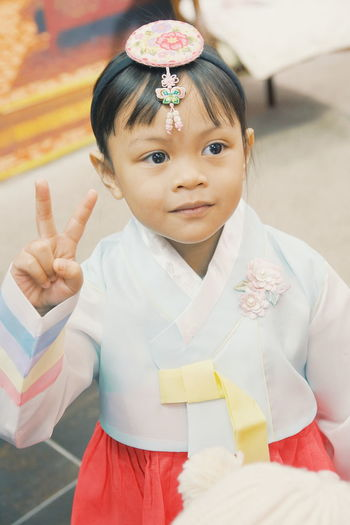 Korea Tourism Korean Traditional Clothes Korean Culture Korean Model EyeEm Selects Korean Child Portrait Childhood Girls Looking At Camera Happiness Front View Close-up Tiara Representing Queen - Royal Person Babyhood Toddler  Crown Baby Girls