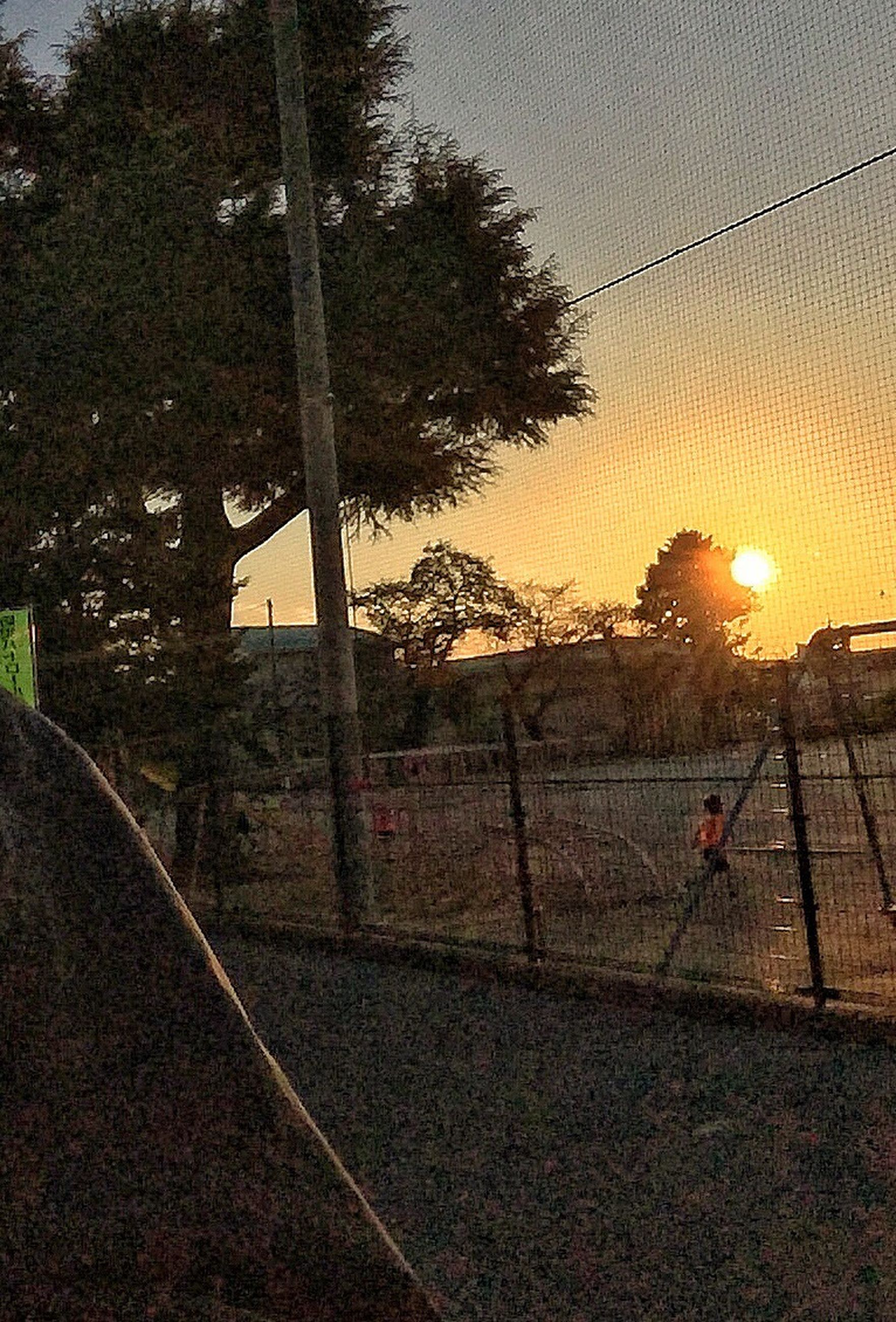 sunset, tree, transportation, sky, road, orange color, street, sunlight, built structure, building exterior, fence, architecture, street light, outdoors, land vehicle, sun, railing, nature, no people, chainlink fence