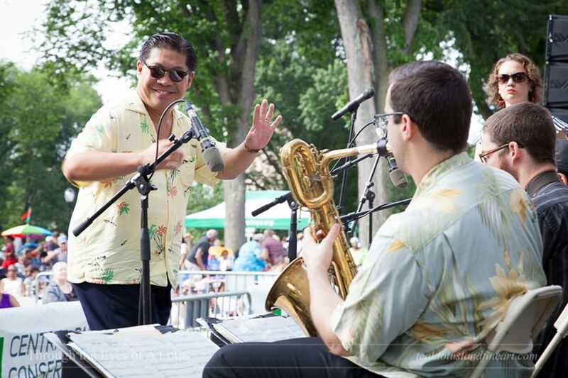George Gee conducts the George Gee Swing Orchestra during Jazzmobile's Great Jazz on the Great Hill, 8 August 2015. I have seen them perform several times. His joy in the music is infectous! It's always a pleasure to see them onstage. Jazz Concert Jazzmobile