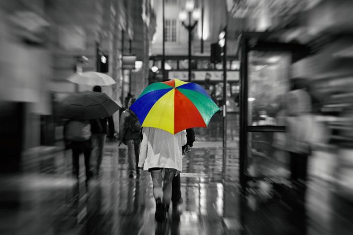 """Don't rain on my parade"" Umbrella Umbrellas Rain Bad Weather Multi Colored Capturing Movement London Motion Blur Rain Rain Drops Rainbow Umbrella Rainy Days City London Weather  Multi Colored On The Move Outdoors Real People Umbrella Umbrellas Walking Water Wet EyeEm Ready   Protection Women Adventures In The City"