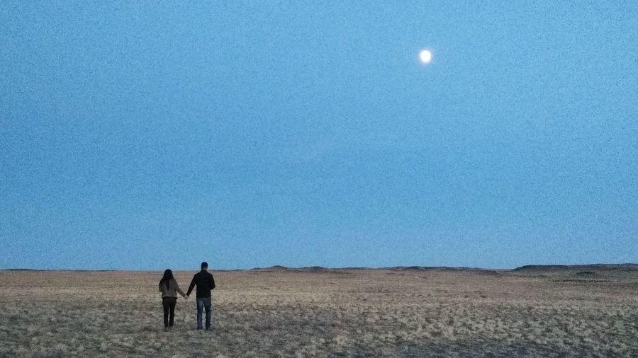Astronomy Moon Desert Arid Climate Clear Sky Men Sky Landscape