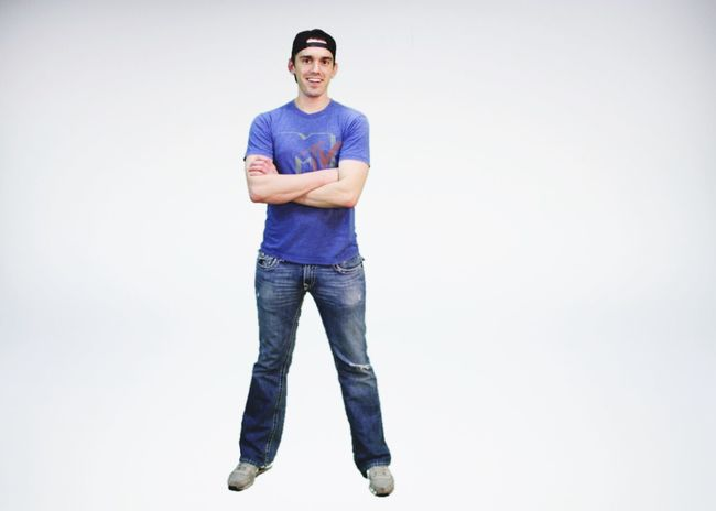 Smiling Full Length Casual Clothing White Background Happiness One Person Looking At Camera Portrait Studio Shot Jeans Front View Young Adult Cheerful Standing Adult Day People Adults Only