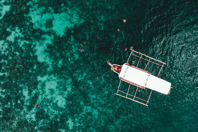 High angle view of rowboat on sea
