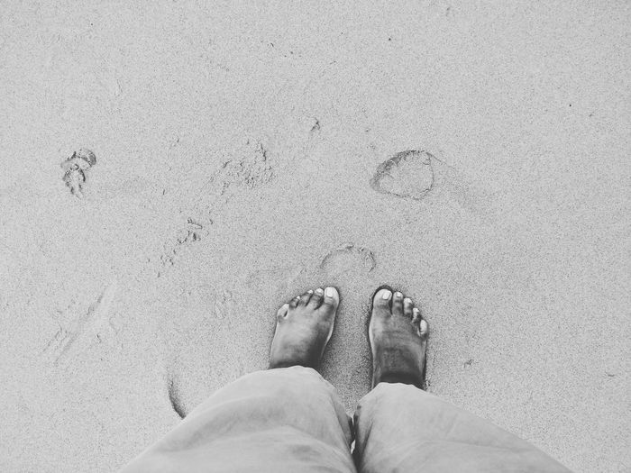 own two feet Low Section Beach Standing Sand Human Leg High Angle View Directly Above Personal Perspective Human Foot FootPrint Human Feet Sandy Beach Paw Print Footwear Shore Pair Exploring Fun