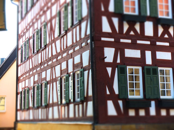 Historical timbered house Built Structure Architecture Window Building Building Exterior No People Low Angle View Selective Focus Day Glass - Material Outdoors House Pattern Residential District Close-up Railing Wall Nature Transparent Timbered Timbered House Wooden Beams Historical Building Doctor Faust