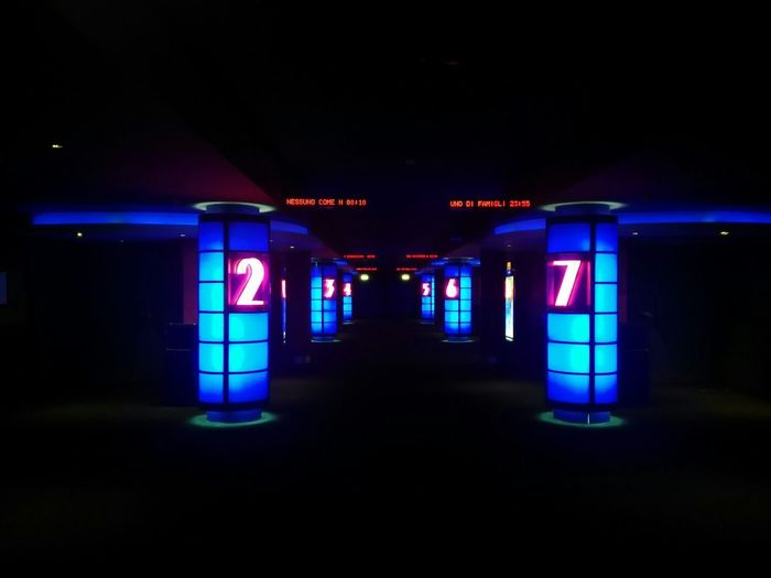 Cinema! Cinema 2 7 Photo By  Bruce Finestra Daniele Pedone ©2018 Life All Rigths Reserved Huaweiphotography Neon Illuminated City Arts Culture And Entertainment Symmetry Directional Sign