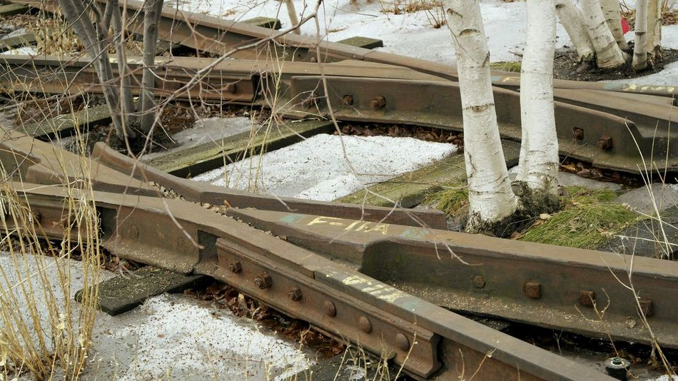 Train Tracks Contrast Oldtransportation Highline NYC Travel Destinations Walking Around Land Vehicle Close-up Deterioration Snow Cold Snowfall Weather Condition Cold Temperature