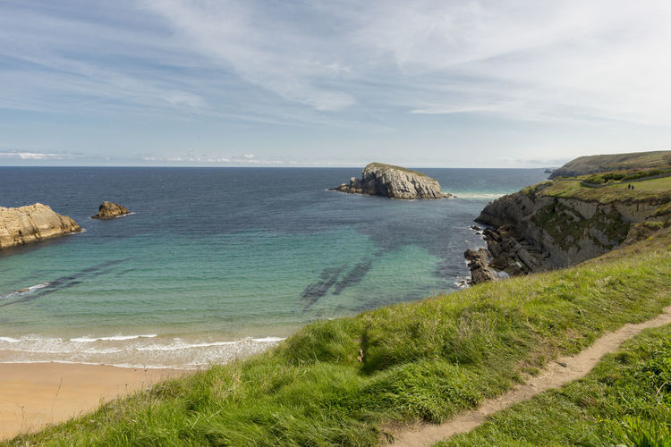 Cantabria Arnia Beach Beauty In Nature Coast Day Grass Horizon Over Water Landscape Nature No People Ocean Outdoors Scenics Sea Sky Tranquil Scene Tranquility Water