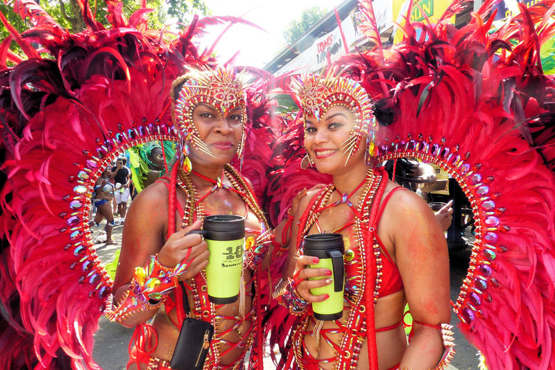 Kensington And Chelsea Notting Hill Carnival Notting Hill Carnival 2017 Notting Hill Gate Station Redhead Varnival Celebration Cultures Drinking Beer Hot Weather October Sweet October Ladbroke Grove Red Sambar Tradition Traditional Festival Young Women