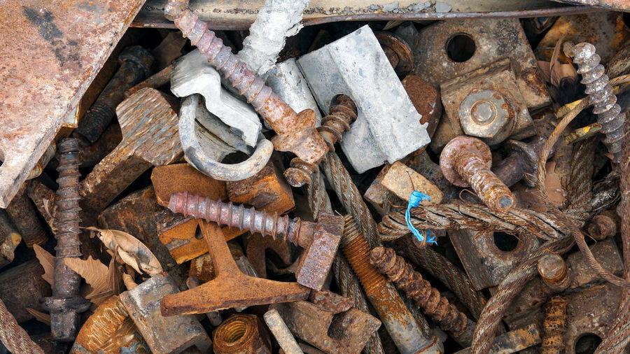 Full frame shot of rusty metallic tools
