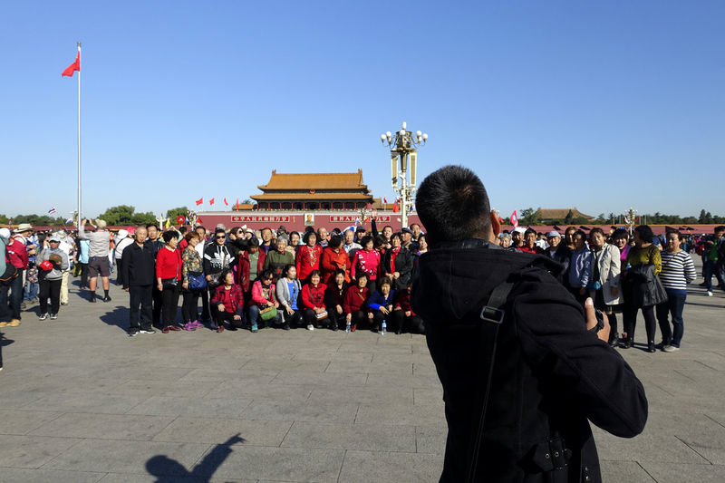 Tian'anmen Square Adult Architecture Army Soldier Building Exterior Built Structure Ceremony Clear Sky Crowd Day Flag Large Group Of People Men Military Parade Military Uniform Outdoors People Pride Real People Sky Tian'anmen Square