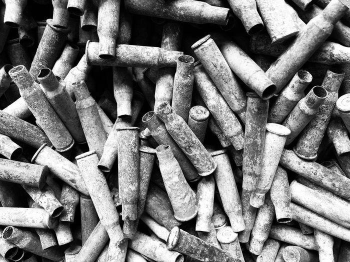 Spanish Civil War Jarama War Batalla Jarama Guerra Civil Black And White Military Weapons Of War Guerra Horror War War Cartridges Shell Cartridges Casquillos Full Frame Backgrounds No People Day Close-up Heap