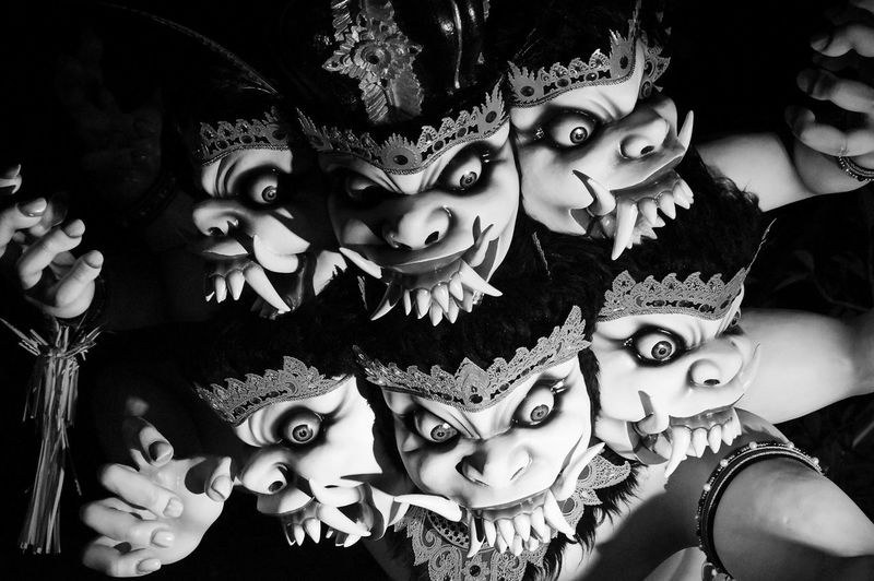 Close-up high angle view of carnival masks