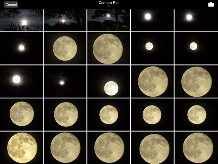 This is a screen shot of my camera roll from last nights full moon. June 20. North Carolina Moon Shots JustGPhotos Moon Original Experiences History Through The Lens  Strawberry Moon Unique Events Celestial Raw I should have shot in RAW.