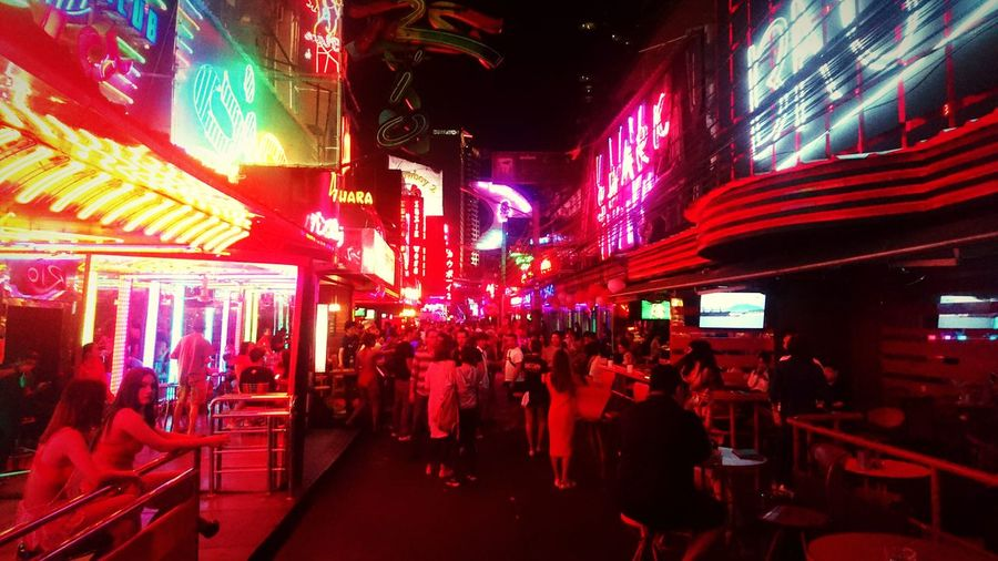 It's Soi Hot! Bangkok Thailand Redlight Neon City Crowd Illuminated Nightlife Nightclub Arts Culture And Entertainment Multi Colored Music Cityscape