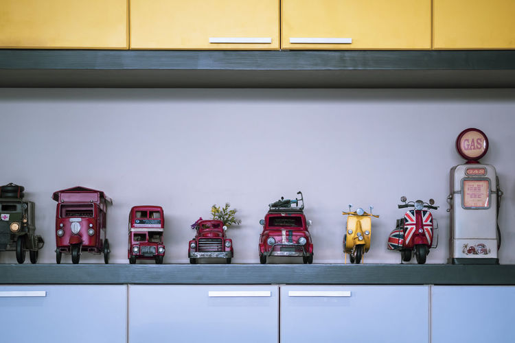 Toys on shelf at kitchen