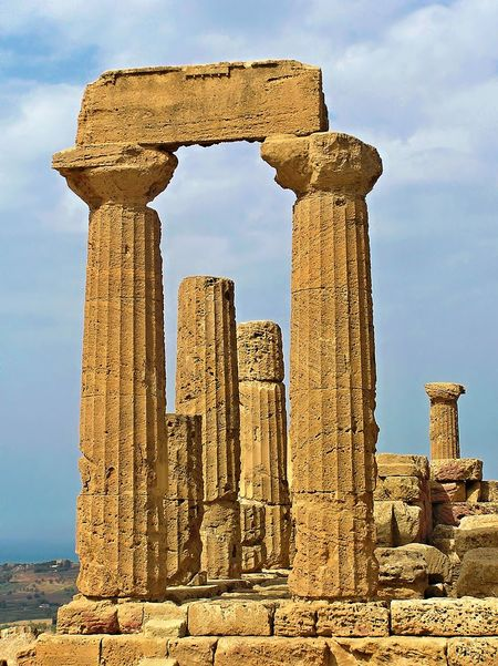 Ellenic columns in the Valley of temples, Agrigento, Sicily, 5th century B.C. Agrigento Ancient Ancient Civilization Architectural Column Architecture Column Famous Place Historic History Old Ruin The Past Travel Destinations Valley Of The Temples