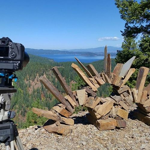 Shooting up above LakeCoeurdalene Beautybay some art one of the guides built looking back toward the lake. Never know what cool things you'll find when Onlocation making Tvmagic Productionlife ToesInTheSandProductions Enjoythelittlethings