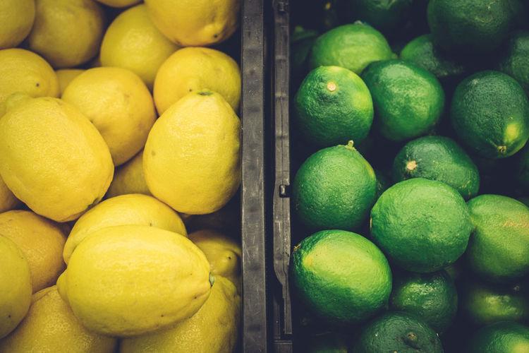 Full frame shot of fresh lemons for sale in market