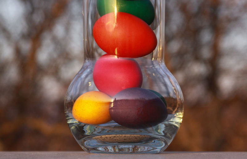 Close-up of fruits in glass on table