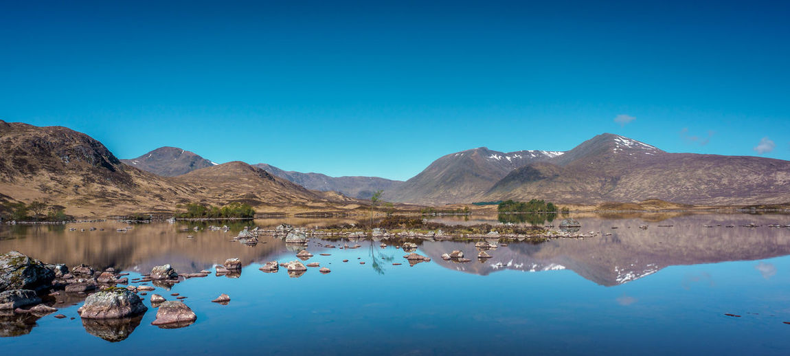 Panoramic view of the reflections of the black mount hills in lochan na h-achlaise on rannoch moor