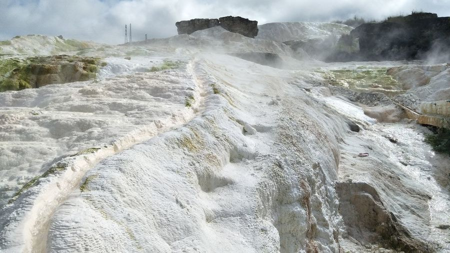 Limstone Coral Reefs Sulfur Rock Sulfur Mountain Source Of Water Hot Water Sipoholon North Sumatera INDONESIA Physical Geography Beauty In Nature Outdoors Close-up Landscape Steam Nature Geology Sky Hot Spring No People Water Scenics Day