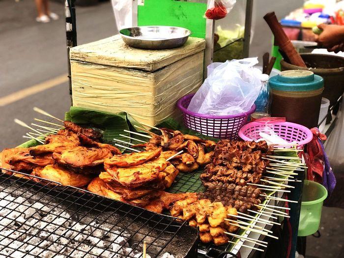 Bangkok street food Streetfood No People Container Food And Drink Day Freshness High Angle View Food Focus On Foreground Market Choice Large Group Of Objects Close-up Business For Sale Nature Tray Street Table City