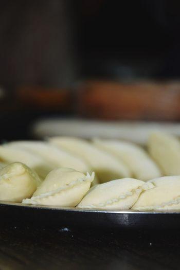 gujiya Holi Festival Of Colors Festival Foods Gujiyan Making.. Dumpling  No People