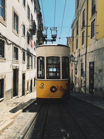 Paint The Town Yellow Architecture Transportation Mode Of Transport Street Lisbon - Portugal Lisbon Tramway Public Transportation Yellow City City Life Streetphotography