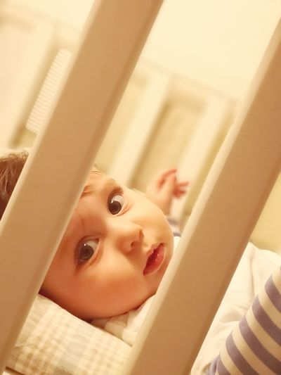 Portrait of cute baby boy lying in crib at home