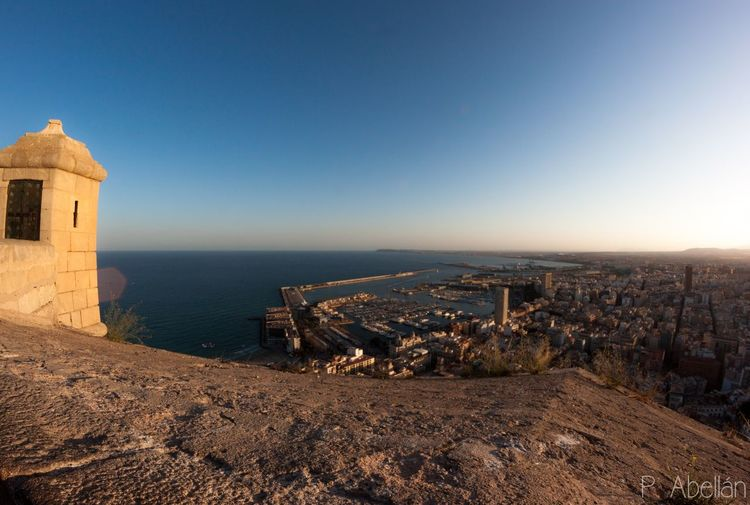 EyeEm Selects Architecture Built Structure Alicante Castillo De Santa Bárbara Samyang 8mm Fisheye Landscape Fisheyelens Building Exterior Sea No People Beach Outdoors Sky Day Clear Sky Canonspain Travel Destinations