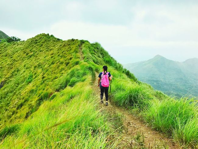 The Trail. Beauty In Nature Hiking Adventures Scenics Nature Mountain Outdoors Green Color Landscape Wonderful Place Hiking❤ Green Color Enjoying Life Travel Destinations Tranquil Scene Beauty In Nature Hikingphotography One Person Standing Hikingadventures Mountain Range