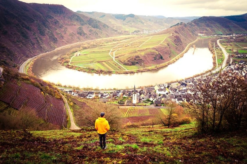Agriculture Farm Landscape Field Farmer Outdoors Nature Mountain Adult Terraced Field People One Person Plant Horticulture Day Beauty In Nature Rice Paddy Food Working Irrigation Equipment Mosel Men Moselschleife Germany Mosel River In Germany