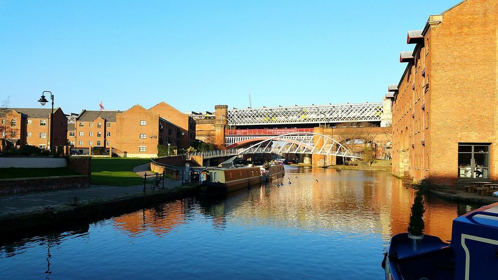 Water Architecture Reflection Clear Sky Sky Blue Sky Urban Landscape Scenic View Manchester Canal Castlefield Femalephotographerofthemonth Canal Canals And Waterways