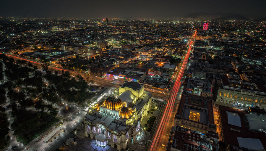 High angle long exposure view on traffic in Mexico City and the Palacio de bellas Artes Mobility Commuting Light Trails Mexico Mexico City Rush Hour Traffic Traveling Aerial View Architecture Building Exterior Built Structure City Cityscape High Angle View Illuminated Motion Night No People Outdoors Palacio De Bellas Artes  Travel Destinations HUAWEI Photo Award: After Dark