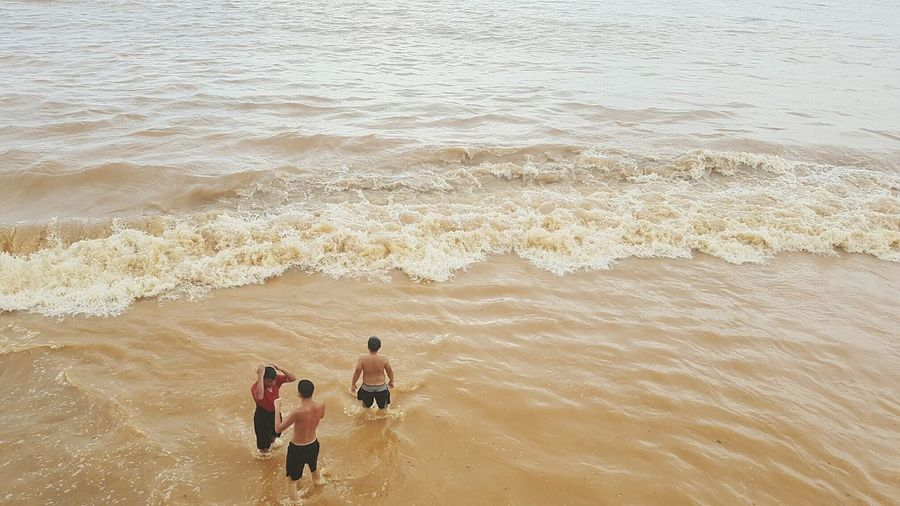 Sand Beach Sea High Angle View Summer Boys Nature Togetherness Outdoors