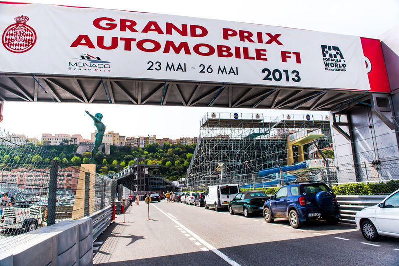MONACO - MAY 02: Grand Prix Automobile F1 sign-board. Three weeks until of opening the Grand Prix Automobile F1 on May 02, 2013 in Monaco. The Monaco Grand Prix is a Formula One motor race held each year on the Circuit de Monaco, run since 1929. This year Grand Prix Automobile F1 will take place from May 23 to May 26, 2013. 2013 City Event Formula 1 Formula 1 Monaco Grand Prix Monaco Monaco Grand Prix Stadium Building Exterior Built Structure City Entertainment Europe Formula One Racing Landmark Outdoors People Preparation  Principality Of Monaco Race Signboard Sport Street Text Tribune