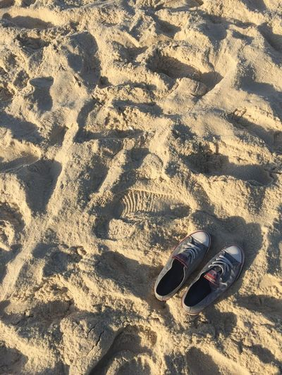 Sand Shoe Beach Pair High Angle View Day Outdoors Shadow Nature No People Ipanema Beach Live For The Story Out Of The Box