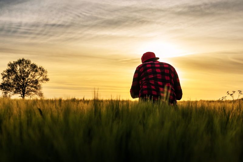 The making of Sunset Rear View Real People Nature Field Sky Landscape Beauty In Nature One Person Men Plant Outdoors Standing Lifestyles Germany Sunset_collection Light And Shadow Light Photography Fotografie Canon Grass Naturelovers Tranquil Scene Growth