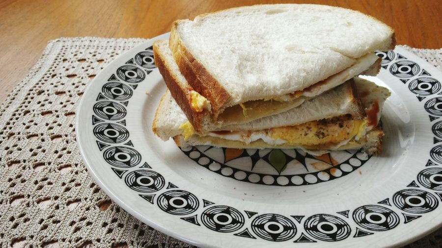 High angle view of sandwich in plate on table