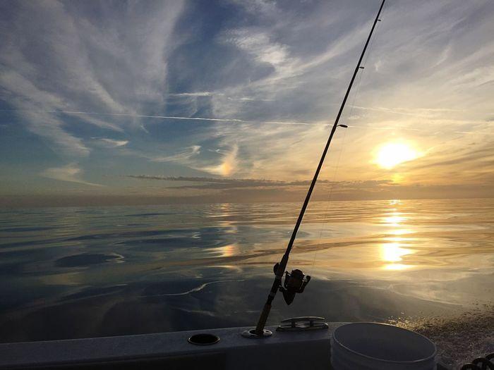 Sunset Gulf Of Mexico Boat Fishing