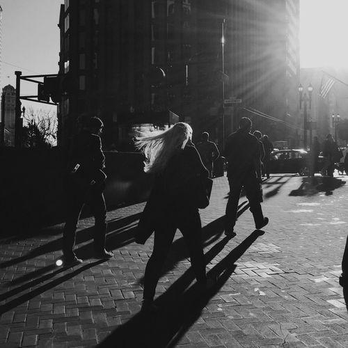 People walking in city