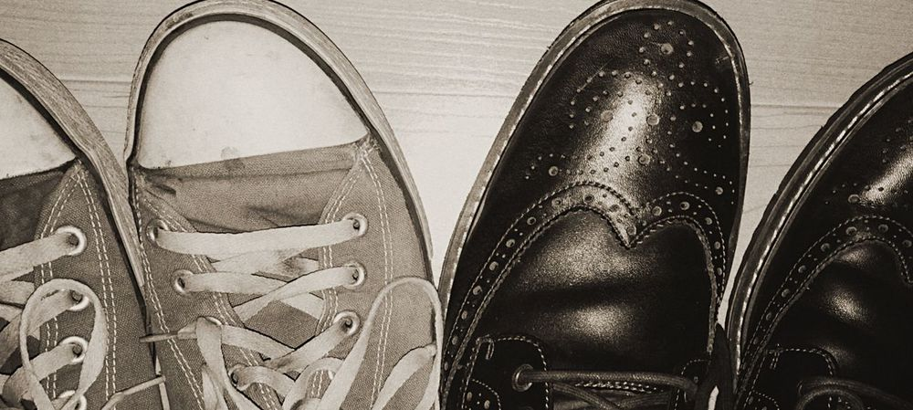 Shoes Black And White No People Shoe Low Section Footwear Personal Perspective Person pair Pairs Of Shoes Pairs Wingtips Sneakers Converse Work And Play