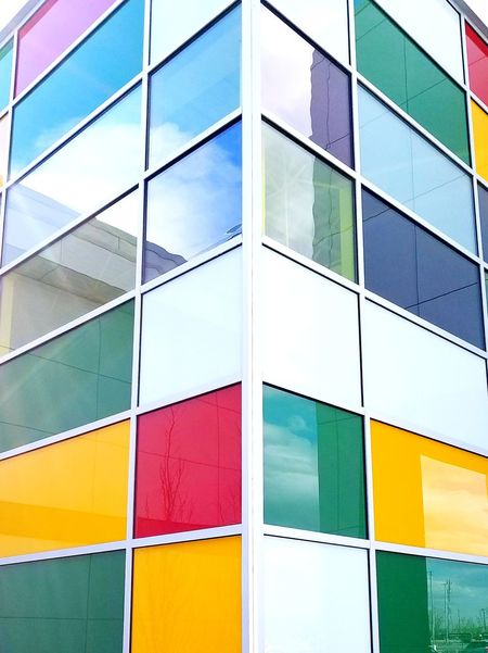 Multi Colored Architecture Built Structure Building Exterior Yellow Abstract Façade No People Pastel Colored Outdoors Day Alberta, Canada The Architect - 2017 EyeEm Awards Low Angle View
