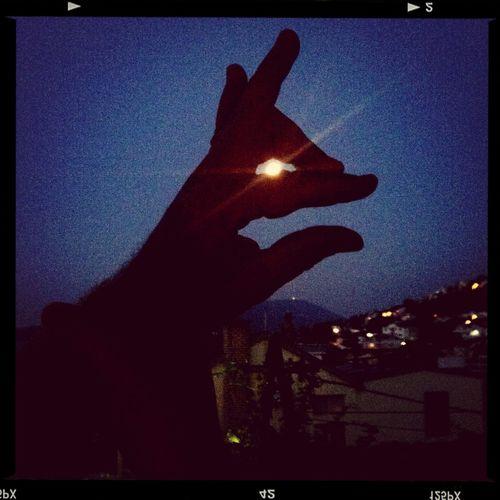 Sunset Silhouettes Moon Light Rabbit Hand