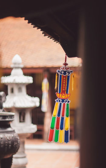 View of decoration hanging at temple building