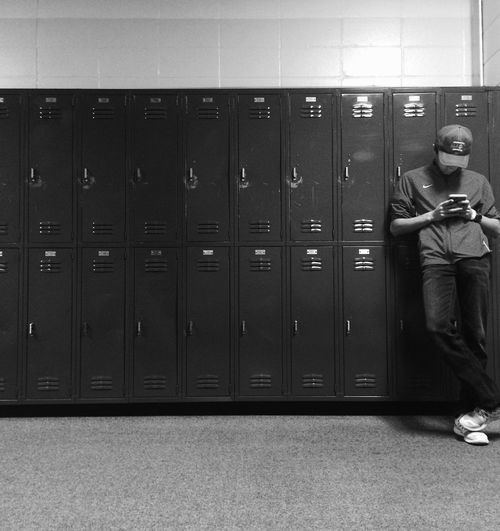 School High School Kid Slacking Slacker Lockers Hall Hallway Alone Technology Blackandwhite Black And White Black & White Monochrome Showcase March Showcase: March Monochrome Photography